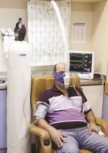 O teste de hipoxemia em andamento